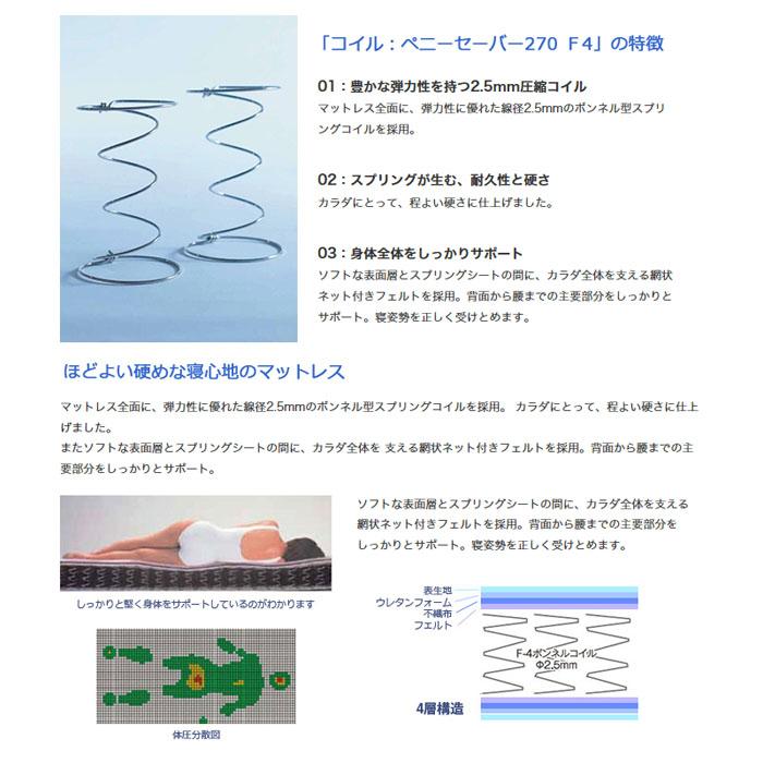 ドリームベッド ロングセラー 日本製マットレス年間売上NO.1ペニーセーバー270 F4 ボンネルコイル