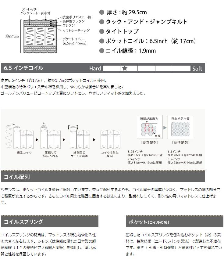 NEW!2016年モデル SIMMONS ビューティレスト 6.5インチコイル ゴールデンバリューマットレス シングル〜キングL(X2)  AA16223 ※旧AA13223
