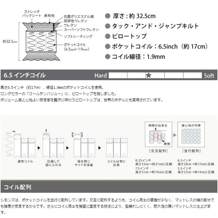 NEW!2016年モデル SIMMONS ビューティレスト 6.5インチコイル ゴールデンバリューピロートップマットレス シングル〜キングL(X2)  AA16221 ※旧AA13221