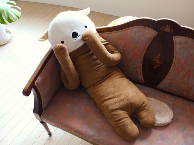 フモフモさん抱き枕 らこも  ライトブラウン LLだきまくら   可愛いラッコのぬいぐるみ シナダ製  プレゼントにも