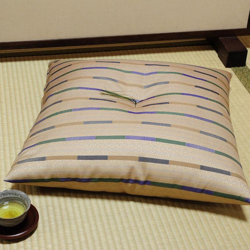 座布団 先染め織物『石畳』 緑茶色(りょくちゃいろ)