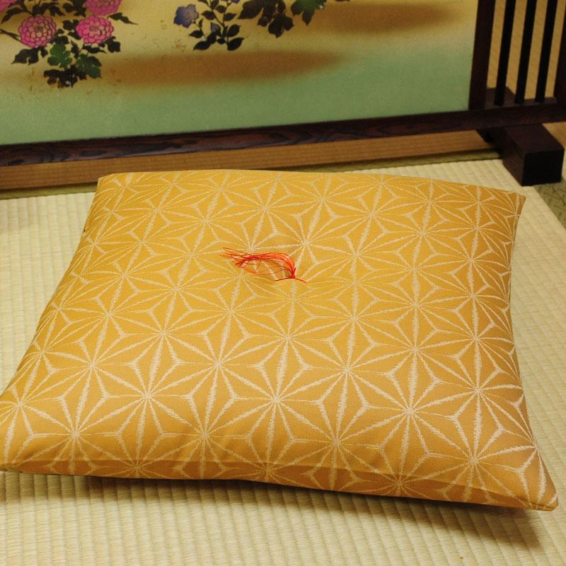 座布団 先染め織物『麻の葉』 黄色(きいろ)