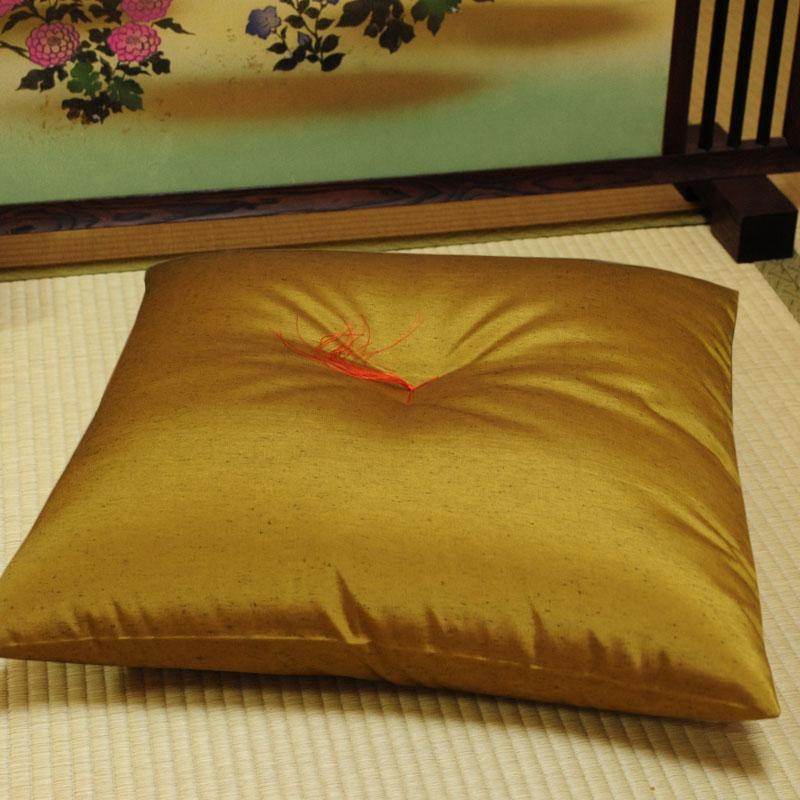 座布団 先染め織物『紬カラー』 金茶色(きんちゃいろ)