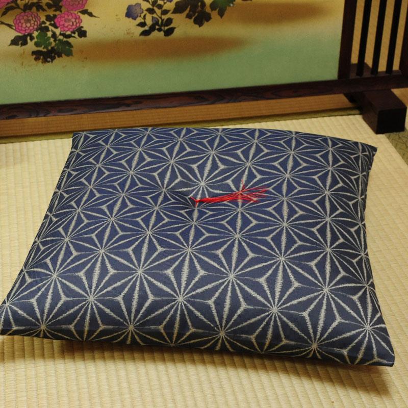 座布団 先染め織物『麻の葉』 藍色(あいいろ)