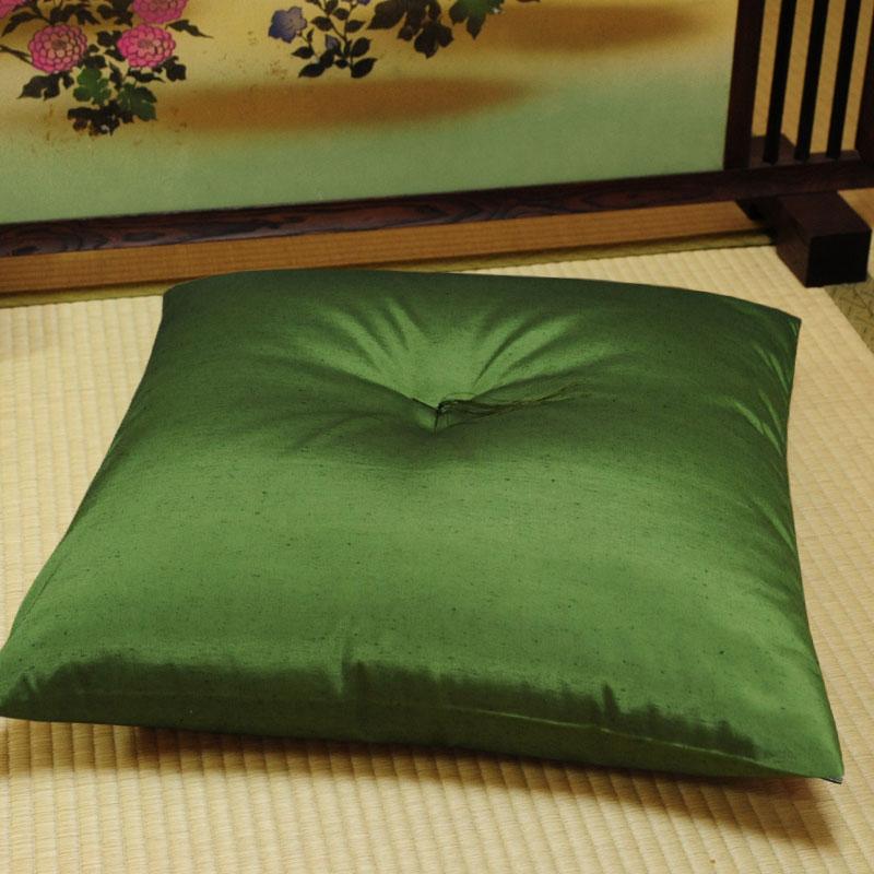 座布団 先染め織物『紬カラー』 鶯色(うぐいすいろ)