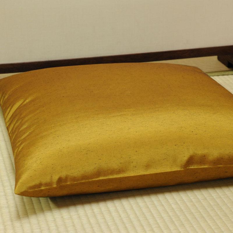 座布団カバー 先染め織物『紬カラー』 金茶色(きんちゃいろ)