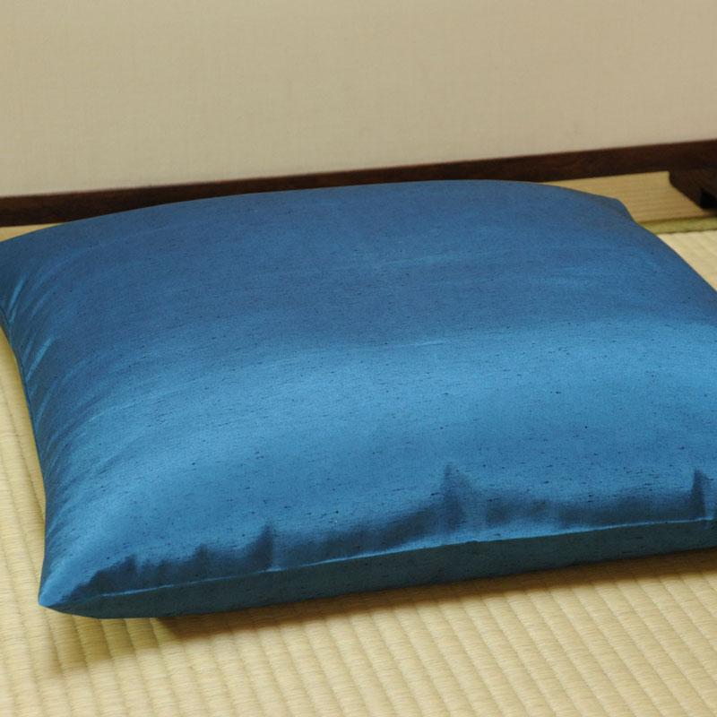 座布団カバー 先染め織物『紬カラー』 紺色(こんいろ)