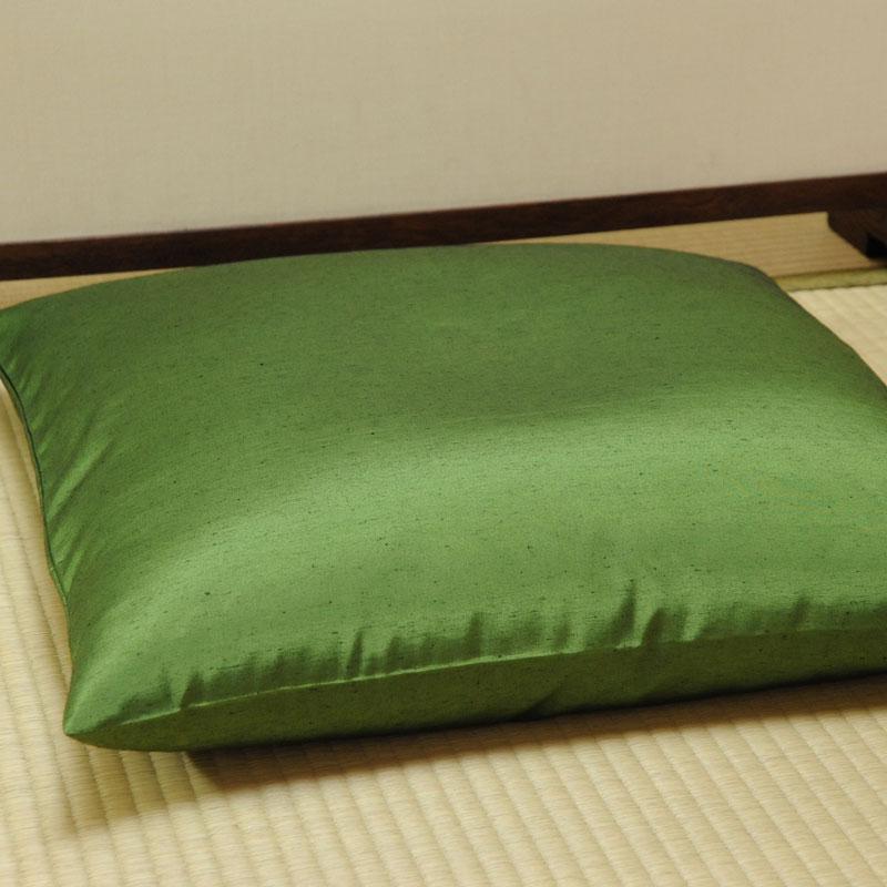 座布団カバー 先染め織物『紬カラー』 鶯色(うぐいすいろ)