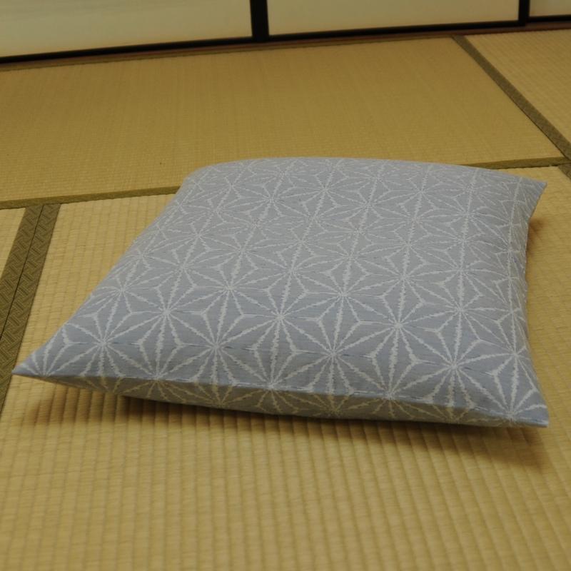 夏座布団カバー 先染め織物『夏 麻の葉』 水色(みずいろ)