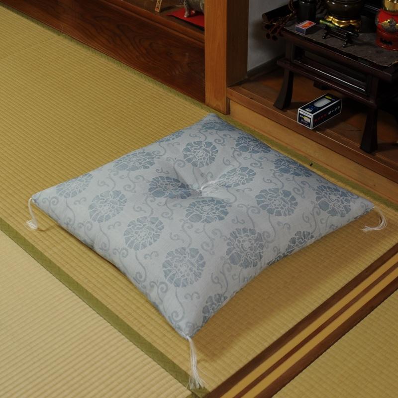 夏用 法要座布団 ちぢみ牡丹(大判サイズ68X72cm)