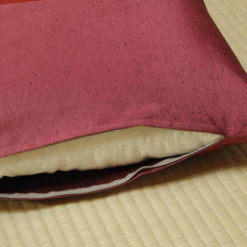 座布団カバー 先染め織物『紬カラー』 薔薇色(ばらいろ)