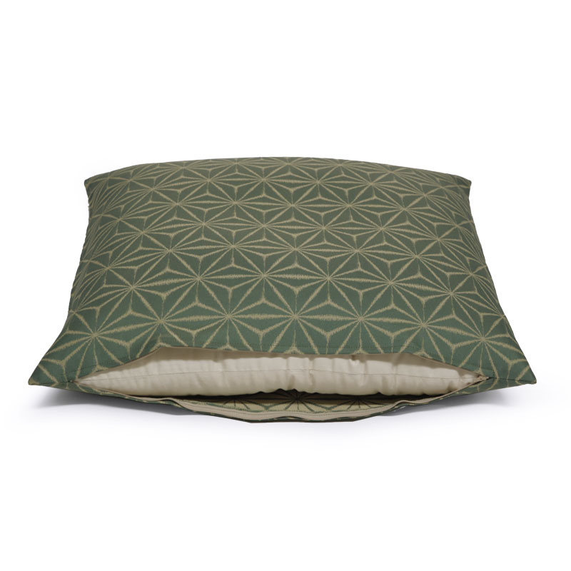 座布団カバー 先染め織物『麻の葉』 緑色(みどりいろ)