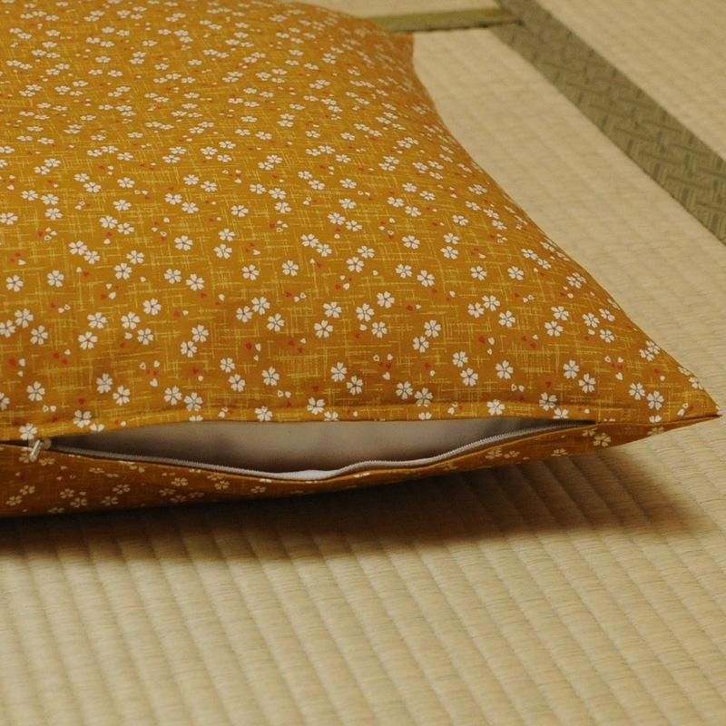 座布団カバー 桜さくら 黄蘗色(きはだいろ)