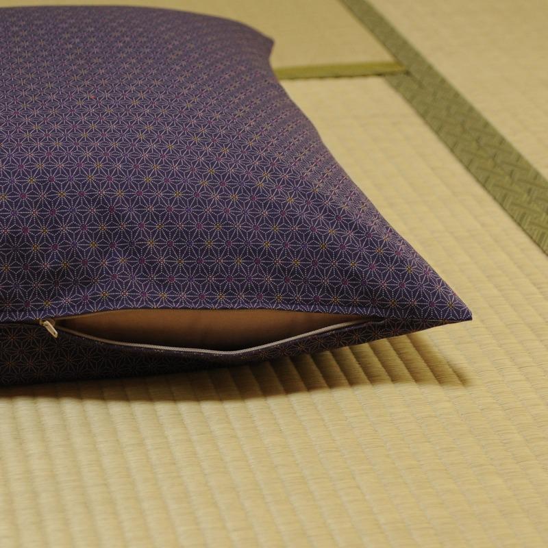 座布団カバー あさもよう 紫色(むらさきいろ)