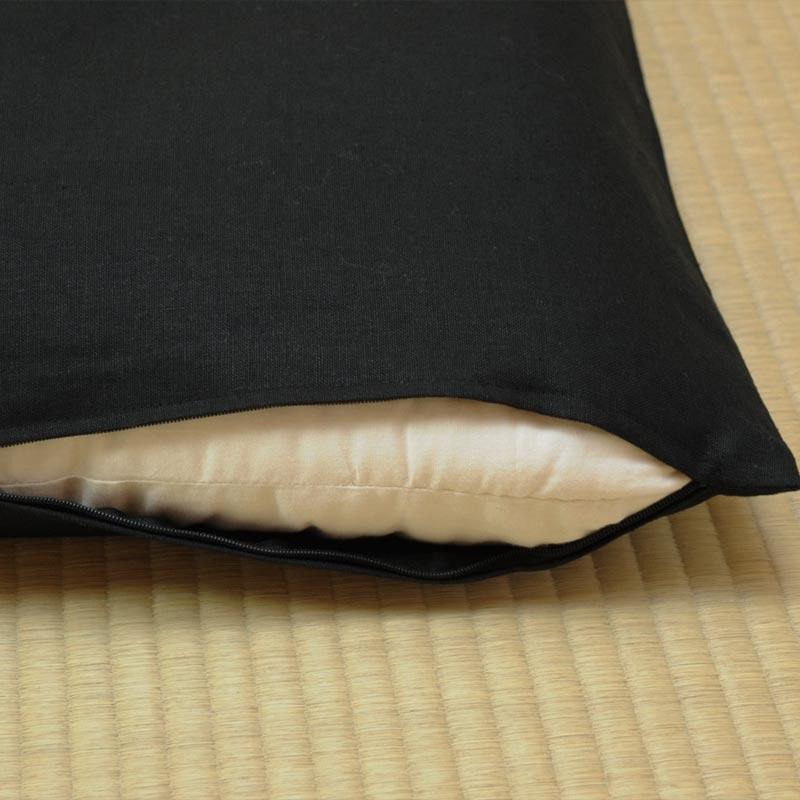 座布団カバー 本麻 真黒(まっくろ)