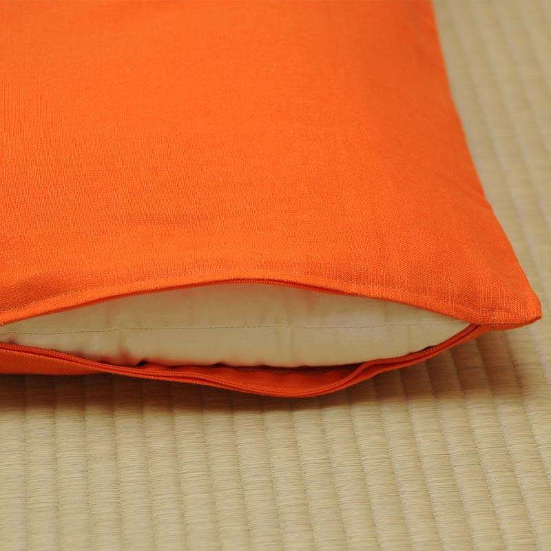 座布団カバー 本麻 橙(だいだい)