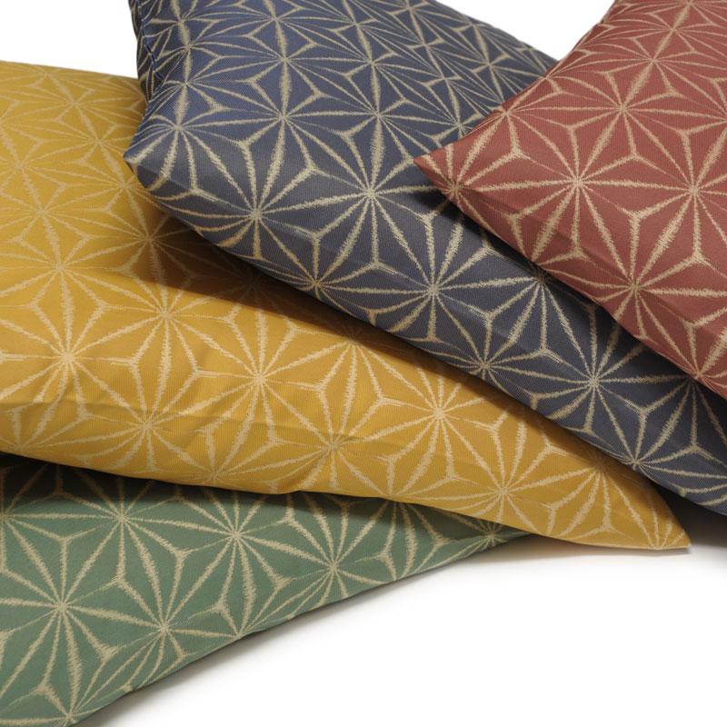 座布団カバー 先染め織物『麻の葉』 黄色(きいろ)