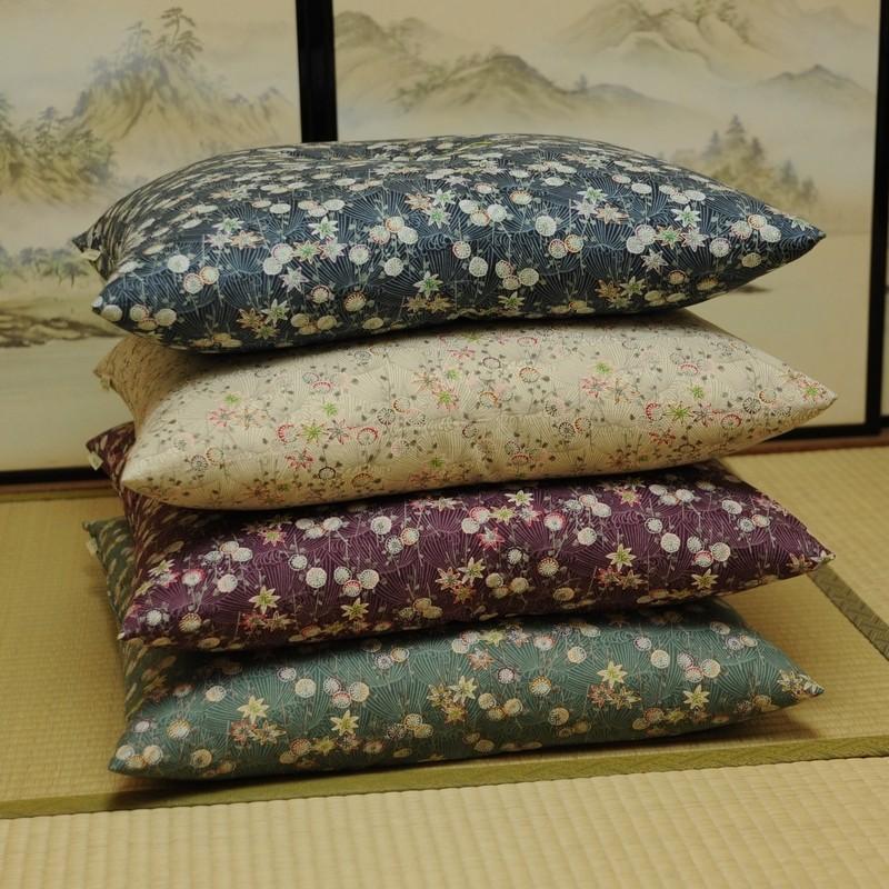座布団カバー 菊もみじ(きくもみじ) 本紫(ほんむらさき)