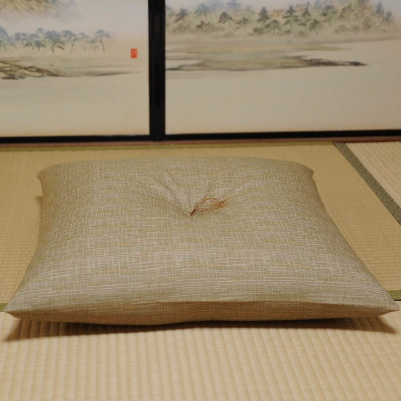 座布団 先染め織物『夕霧(ゆうぎり)』 鶯(うぐいす)