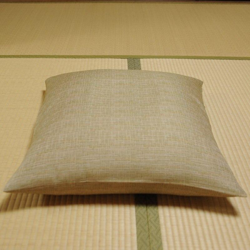 座布団カバー 先染め織物『夕霧(ゆうぎり)』 鶯色(うぐいすいろ)