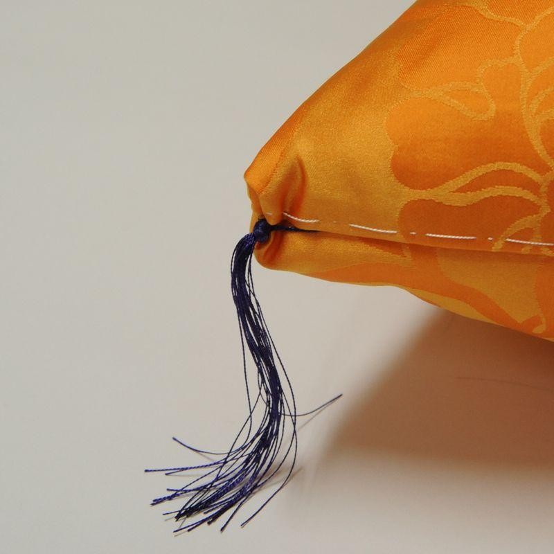傘寿・お祝い座布団 正絹(絹100%) 黄色