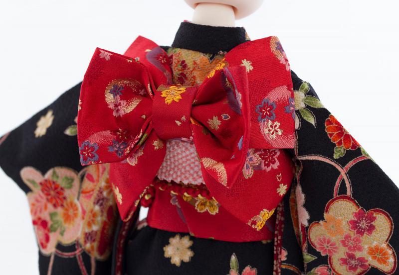 鞠に桜の着物9点セット(鞠に桜・黒)