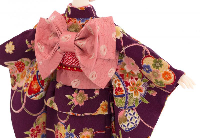 着物9点セット(鞠に桜・紫)