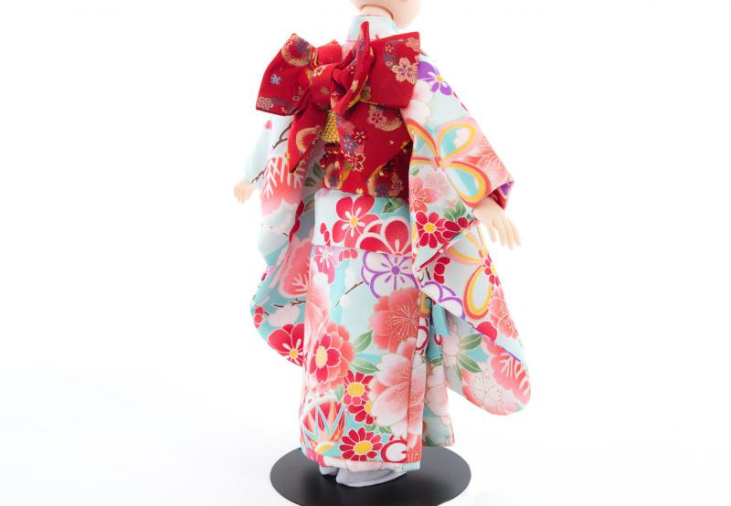 着物9点セット(鞠と扇に桜・水色)