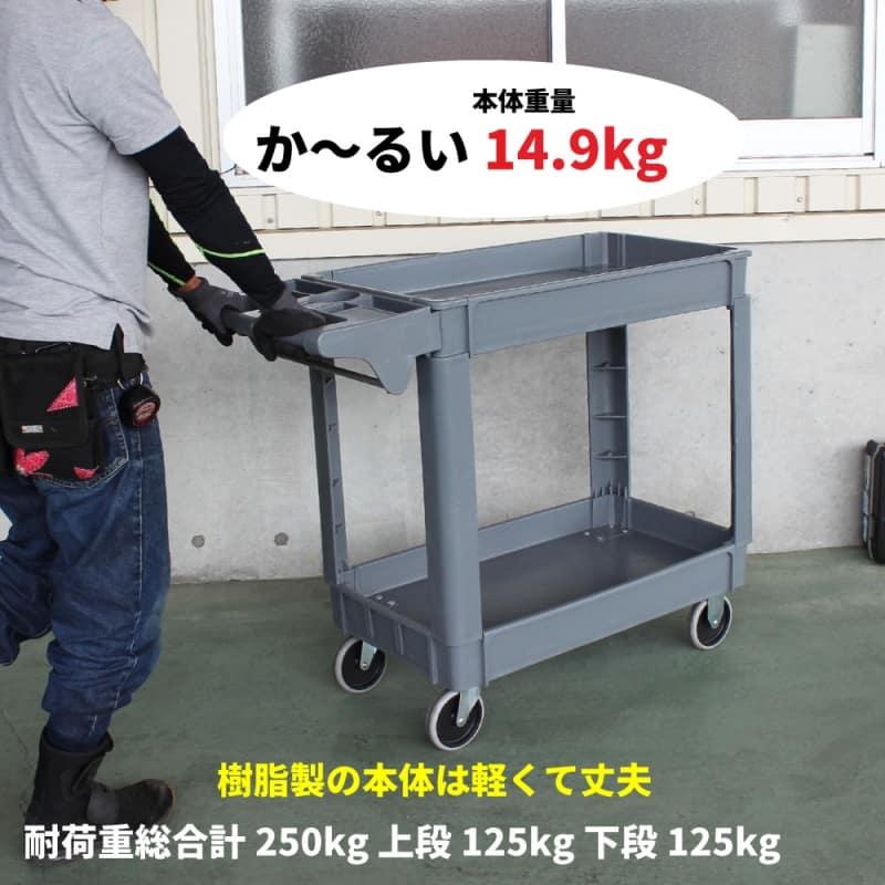 ツールワゴン 台車 250kg 2段 軽量 静音 樹脂製 プラパレ ツールカート KIKAIYA