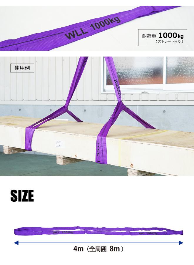 ラウンドスリング 4m 2本セット 最大使用荷重1000kg ベルトスリング エンドレスタイプ KIKAIYA