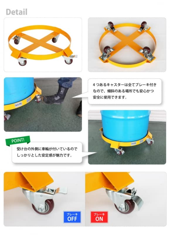 ドラム缶キャリー ドラム缶ドーリー (ブレーキ付) 外車輪タイプ 最大荷重400kg ドラムキャリー 円形台車 KIKAIYA