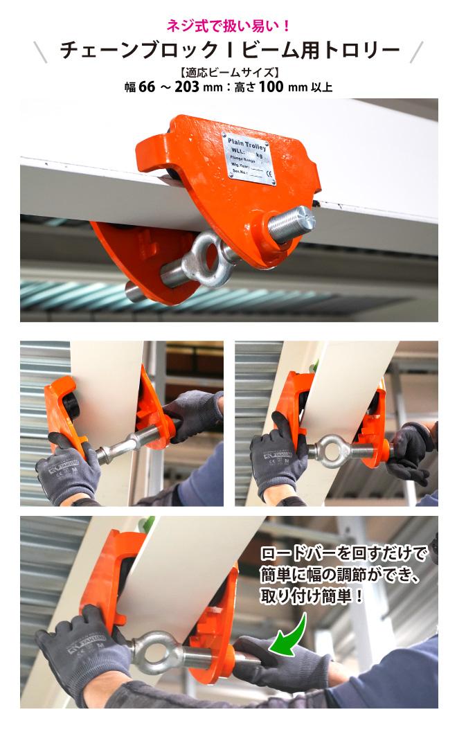 トロリー 2トン ネジ式 プレーントロリー ハイパワー トローリー チェーンブロック用 KIKAIYA