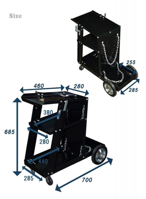 ウェルダーカート 3段 キャスター付 ボンベカート 溶接機 移動台 溶接機台 KIKAIYA
