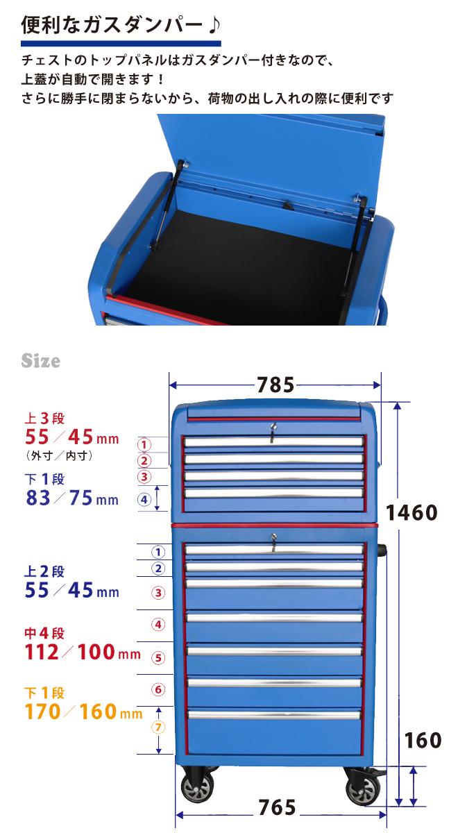 ローラーキャビネット チェスト&キャビネット7段セット 艶なし マットタイプ ロールキャビネット ツールボックス ツールキャビネット 工具箱 KIKAIYA