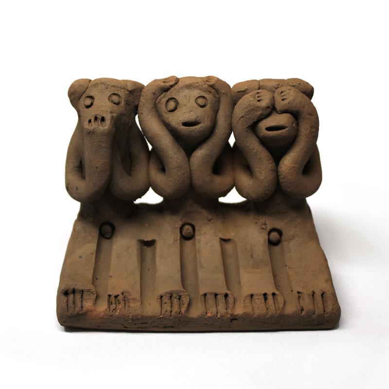 木葉猿 三匹猿(大)【木葉猿窯元】