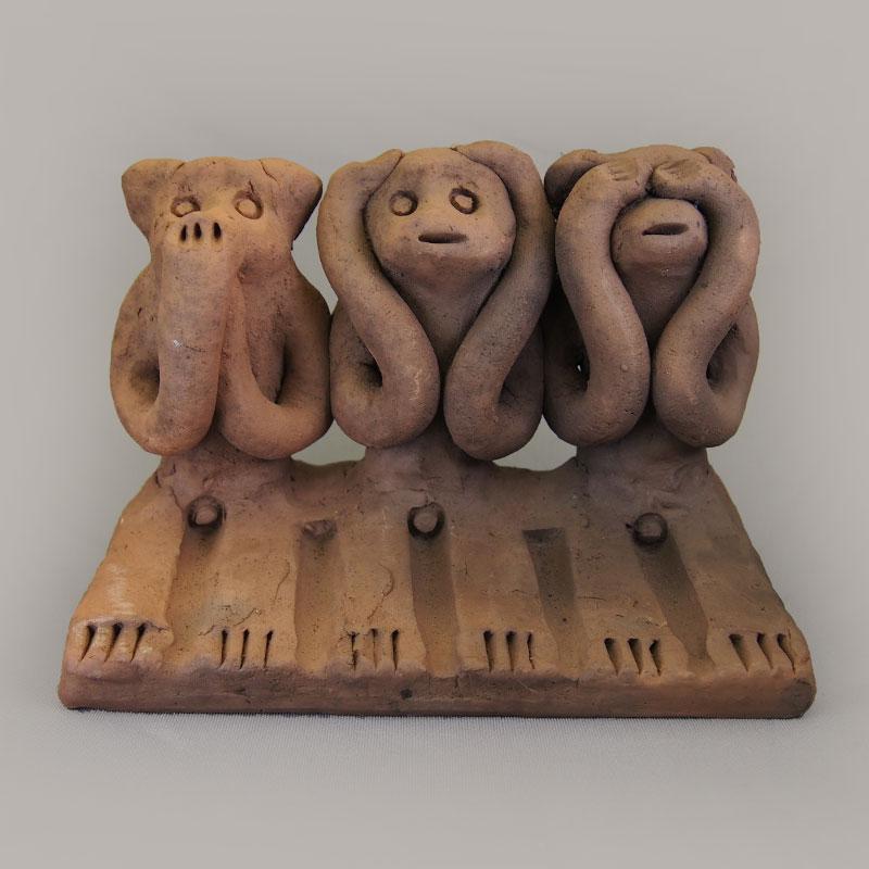 木葉猿 三匹猿(特)【木葉猿窯元】