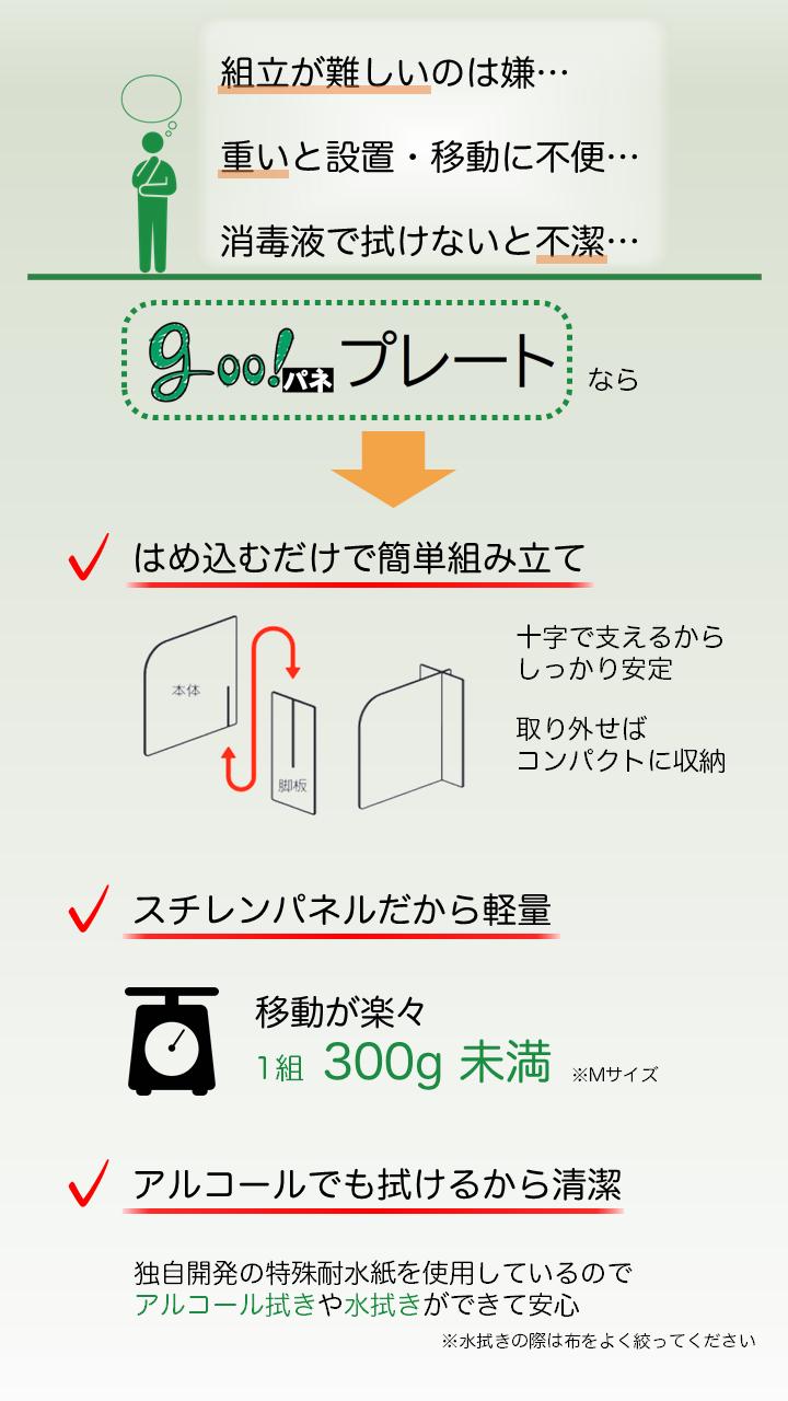 【goo!パネ プレート】白 置き型パーテーション