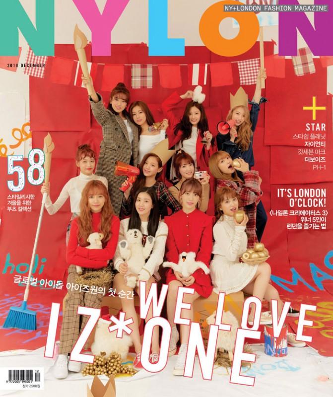 韓国雑誌 NYLON(ナイロン)2018年12月号 IZ*ONE(アイズワン)表紙、GOT7 MARK、THE BOYZ、Zion.T掲載