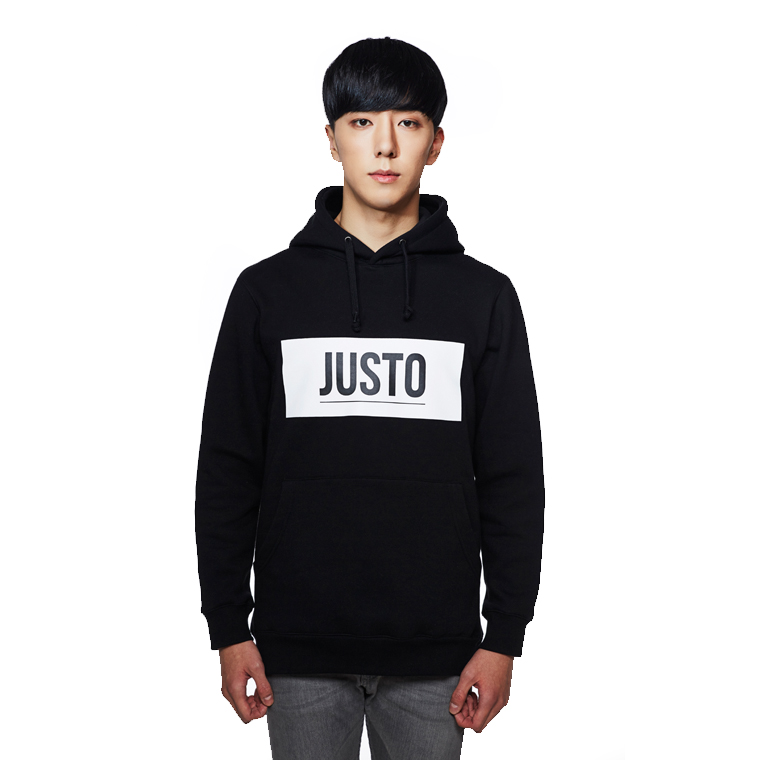 JUSTO JUSTOロゴフーディ 黒色♪[送料無料]