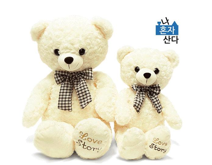 韓国バラエティ番組「私は一人で暮らす」ウィルソン ラブ・ストーリーベア ぬいぐるみ人形 アイボリー 85cm(座高58cm)/WILSON LOVESTORY BEAR DOLL
