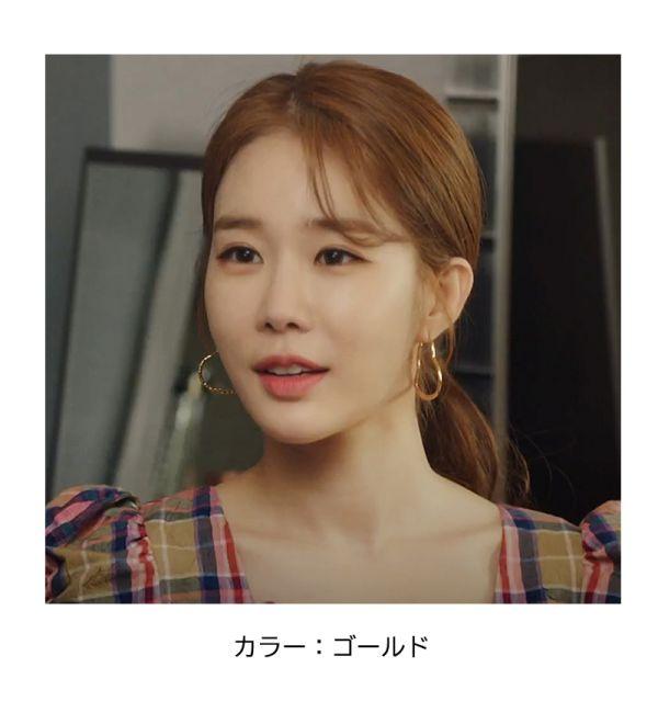 【韓国ドラマ ピアス】「真心が届く」ユ・インナ 着用 ハートリングピアス