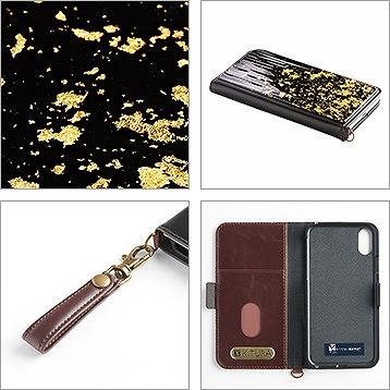 iPhoneX・XS・XS-Max 専用ケース   純金/プラチナ  グラデーション 2色