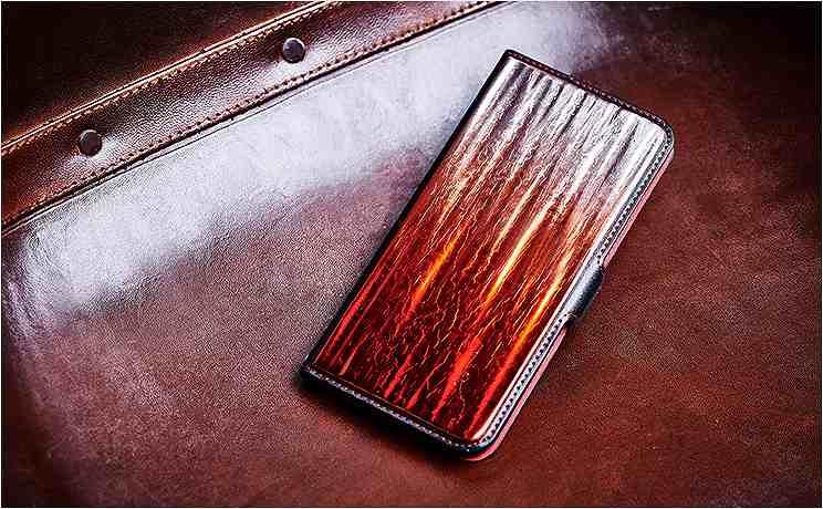 iPhoneX・XS・XS-Max 専用ケース 銀箔 白檀グラデーション