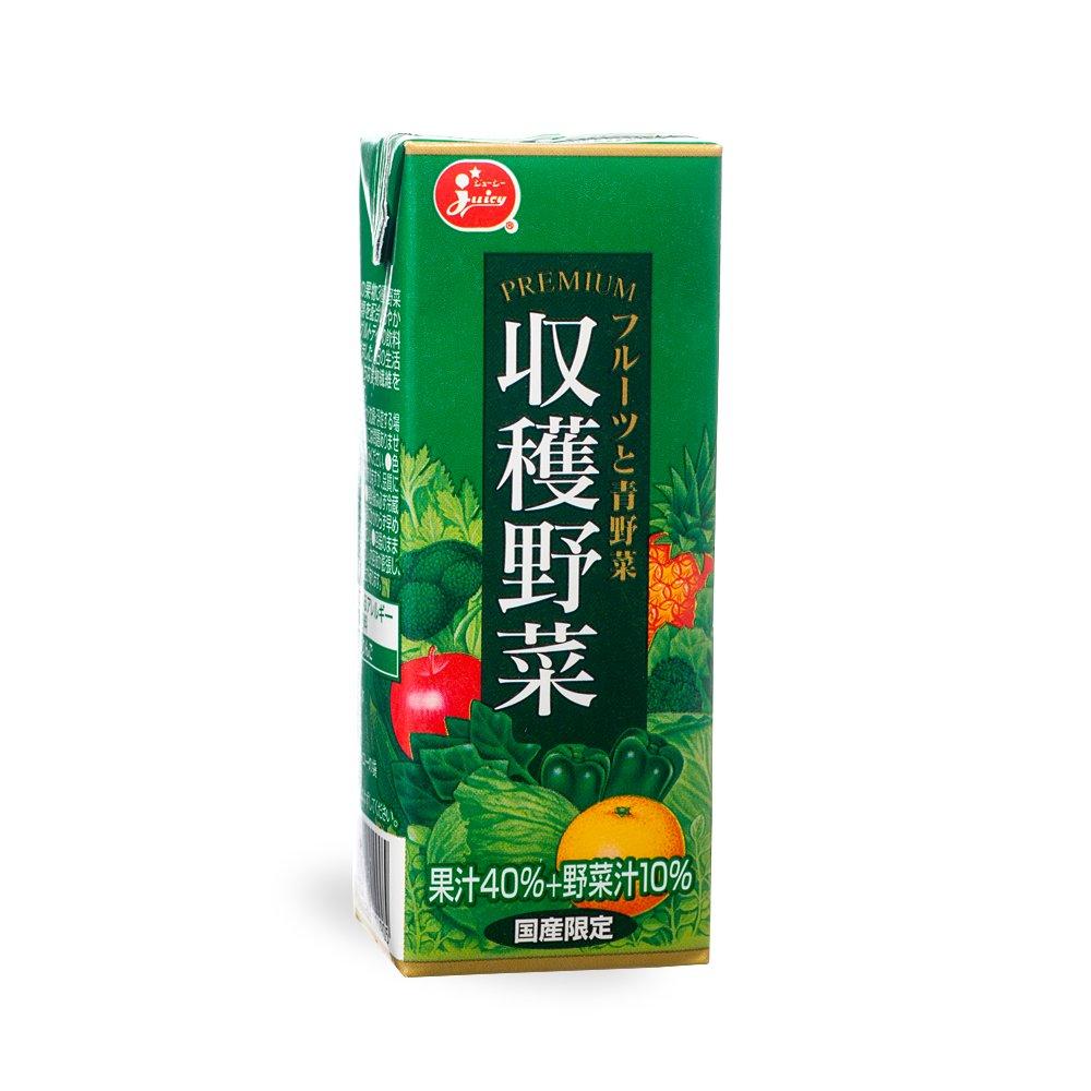 ジューシー プレミアム 収穫野菜 フルーツと青野菜 200ml×24本【ジューシー】