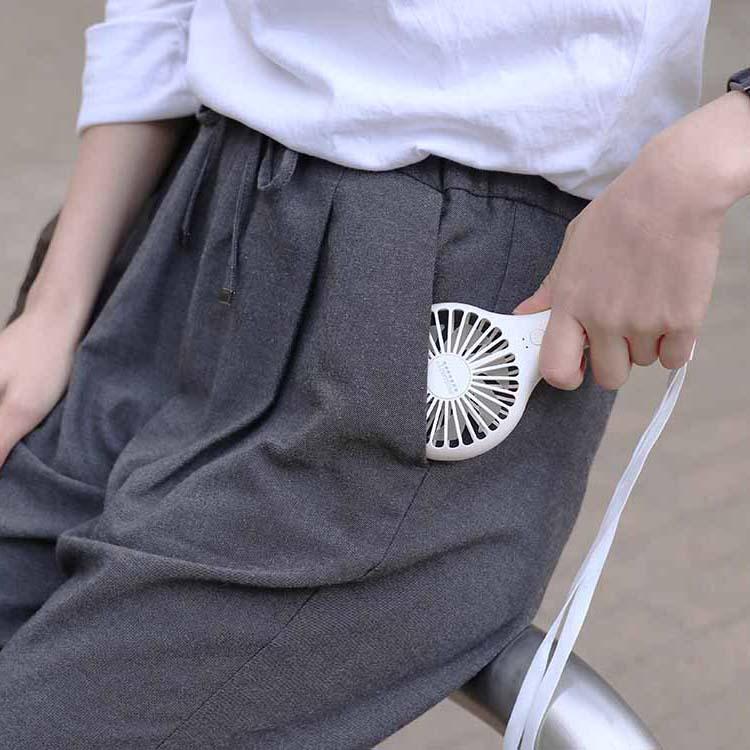 ネックストラップ付 充電式スリムハンディファン キャメル