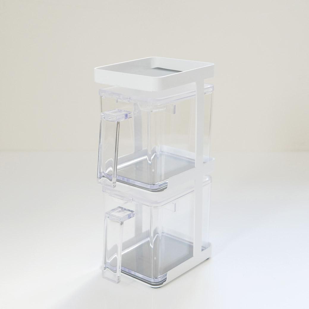 調味料ストッカー2個&ラック3段セット スリム タワー ホワイト