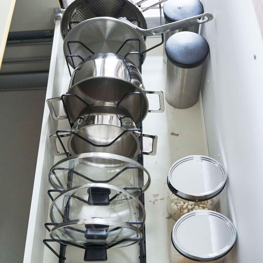 シンク下 伸縮鍋蓋&フライパンスタンド タワー ブラック