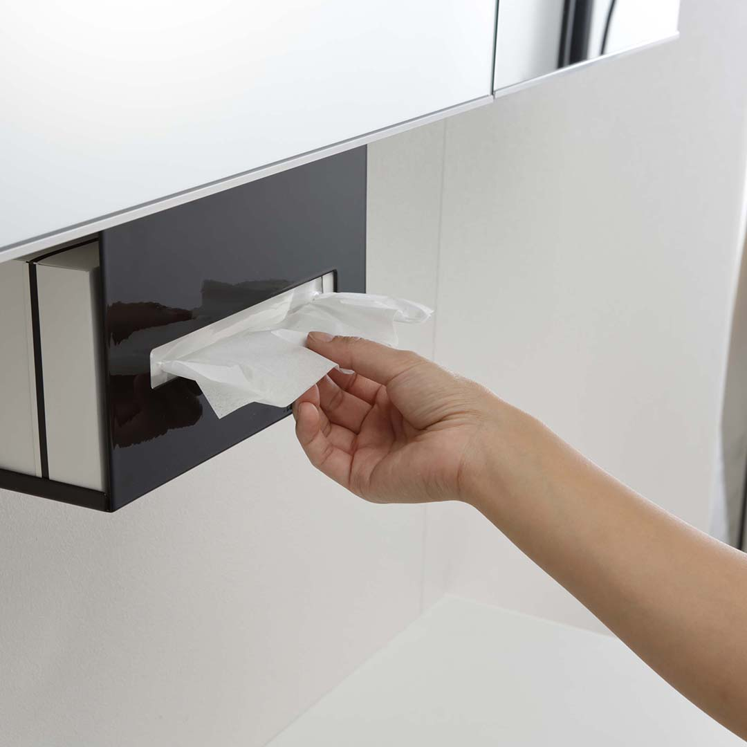 洗面戸棚下ペーパーボックスホルダー タワー ブラック