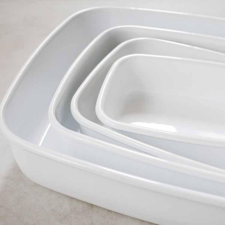 konte 浅型角容器 【L】/リリーホワイト KE-L・LW