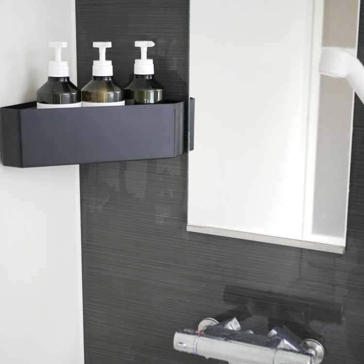 吸盤バスルームコーナーおもちゃラック タワー ブラック